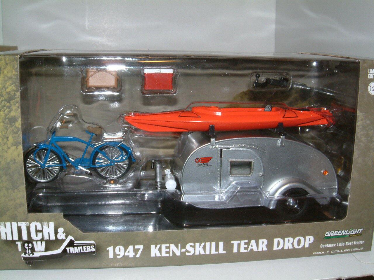 1 24 1947 KEN-SKILL TEAR DROP CARAVAN TRAILER, WITH ACCESSORIES. GREENLIGHT