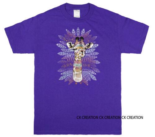 Tribal Giraffe Animal Pet Lover Tank Top 3//4 Sleeve Raglan Graphic T shirt