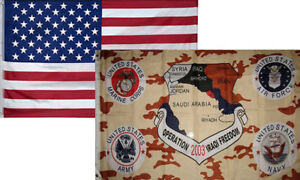 """US AIR FORCE /"""" OPERATION IRAQI FREEDOM /"""" MILITARY 3/' X 5/' POLY FLAG"""