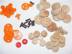 Plastic-Gears-Worm-Gears-Wooden-Wheels-Pulleys-Physics-D-T-Robots-Models