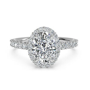 1.30 Ct Oval Cut Moissanite Engagement Wedding Ring 18K Real White Gold Size 9