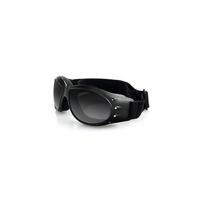 Bobster Sunglasses Motorcycle Cruiser Goggles - Black Frame, Smoked Lens BCA001