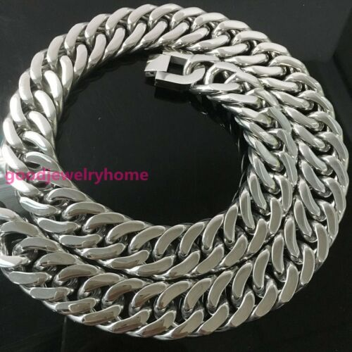 """Heavy 24/"""" 21MM Silver 316L Stainless Steel Curb Chain Necklace Mens 410G Jewelry"""