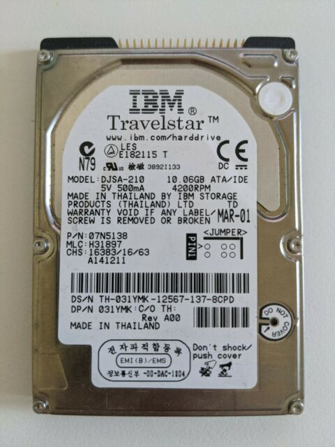 IBM Laptop 10GB IDE 2.5'' Hard Disk Drive HDD DJSA-210