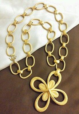 Vintage Crown Trifari Cross Bookchain Link RUNWAY Necklace Gold Tone Haute