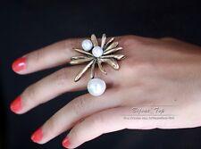 Bague Perle Fleur Soleil Retro Ancien Vintage Original Cadeau 56 Z3