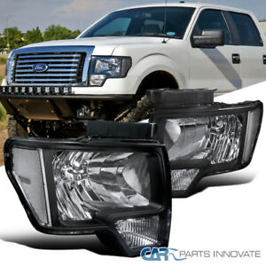 2009-2014 Ford F150 F-150 Replacement Euro Black Headlights Driving Lamps Pair