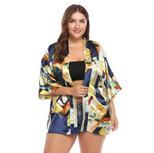 Women/'s Blouse Blusas Top 3//4 Batwing Sleeve Loose Satin Kimono Shirt Plus Size