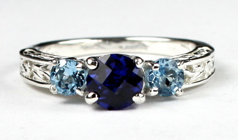 CREATED blueE SAPPHIRE w  SWISS blueE TOPAZ Accents 10k White gold Ring • R254-WG