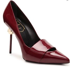 Roger Vivier Patent Leather Strap Burgundy Pump Heels Size 6.5   36 ...