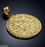 Mens Gold Aztec Mayan Sun Calendar Pendant 2
