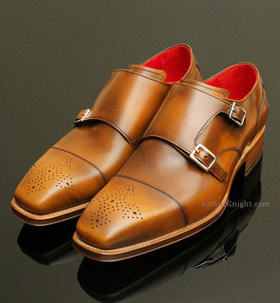 NEW Jeffery West shoes Tan Tan Tan Brown Double Monk Strap Designer Jeffrey Brogues 10 38e3db