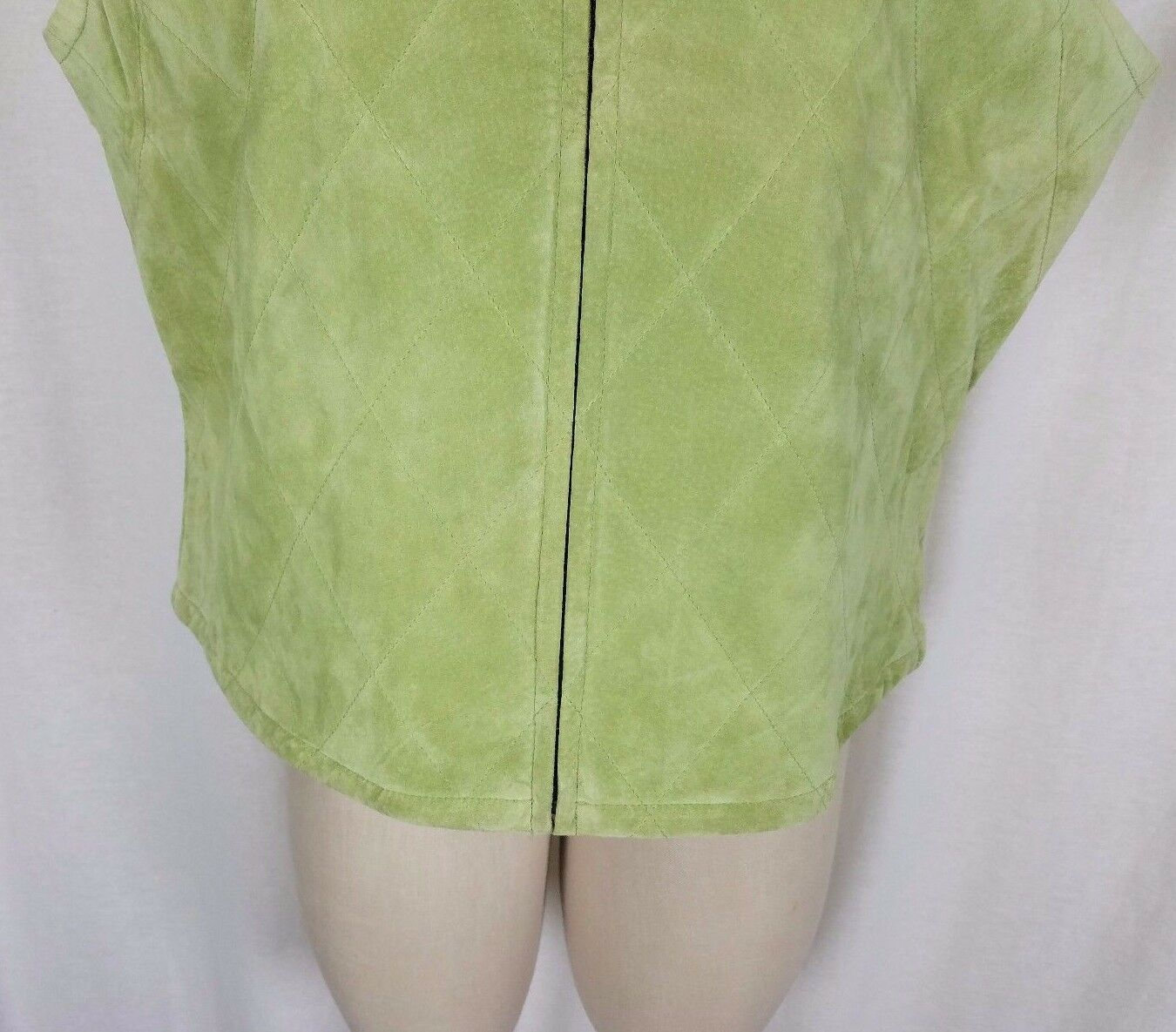Catherine Stewart Quilted Lime Green Green Green Washable Suede Leather Zip Vest Womens XL d6702f