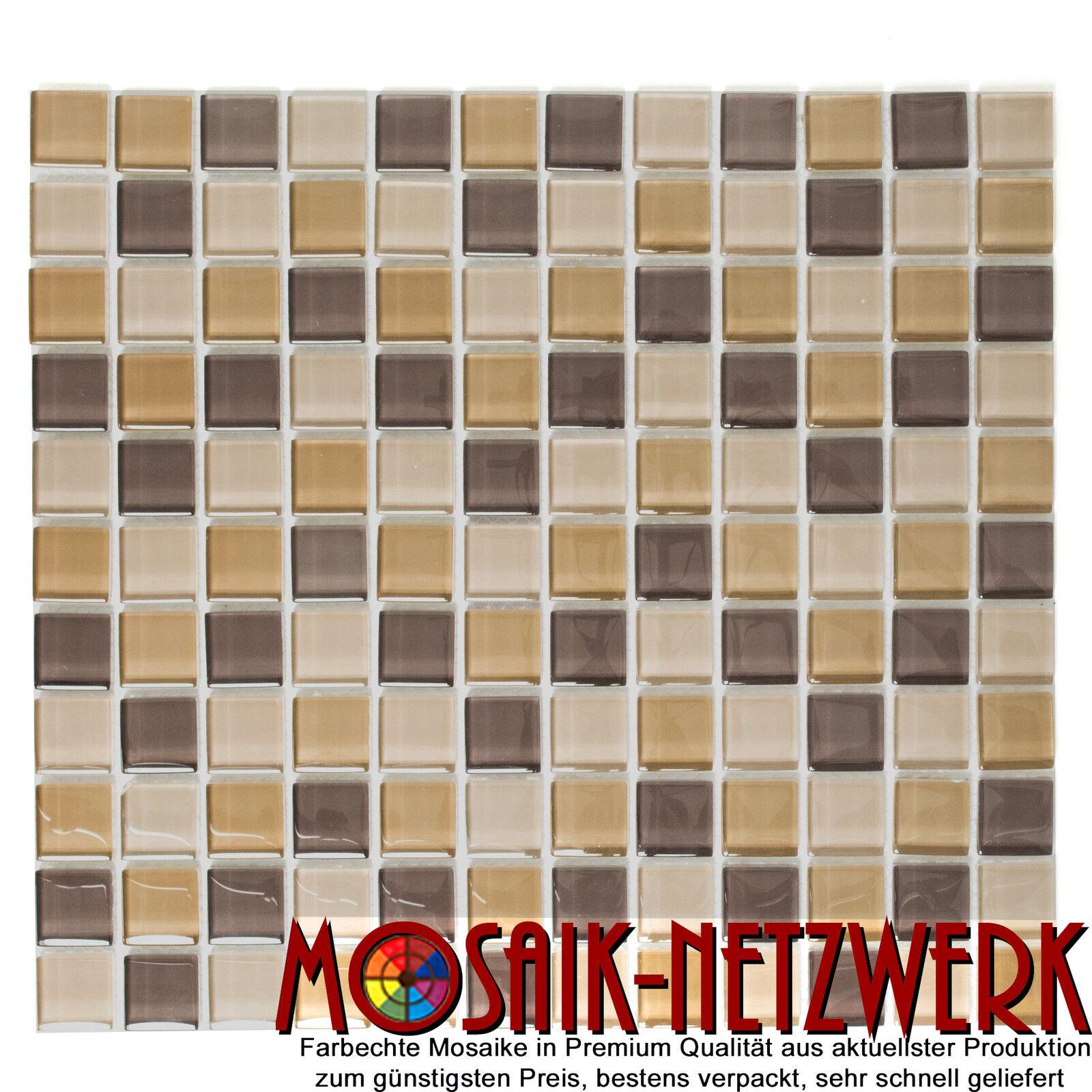 Glasmosaik Crystal mix braun  Quadrat Transluzent 25x25x8 Art  72-1302 _f   1qm