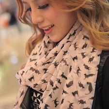 Animal Cat Printed Soft Silk Chiffon Scarf Wrap Shawl Top Great Pink Muffler