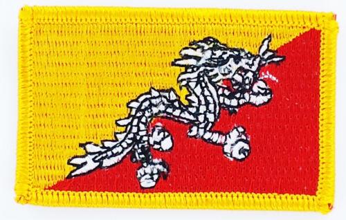 AUFNÄHER Patch FLAGGEN flagge  Bhutan  flag Fahne  7x4.5cm
