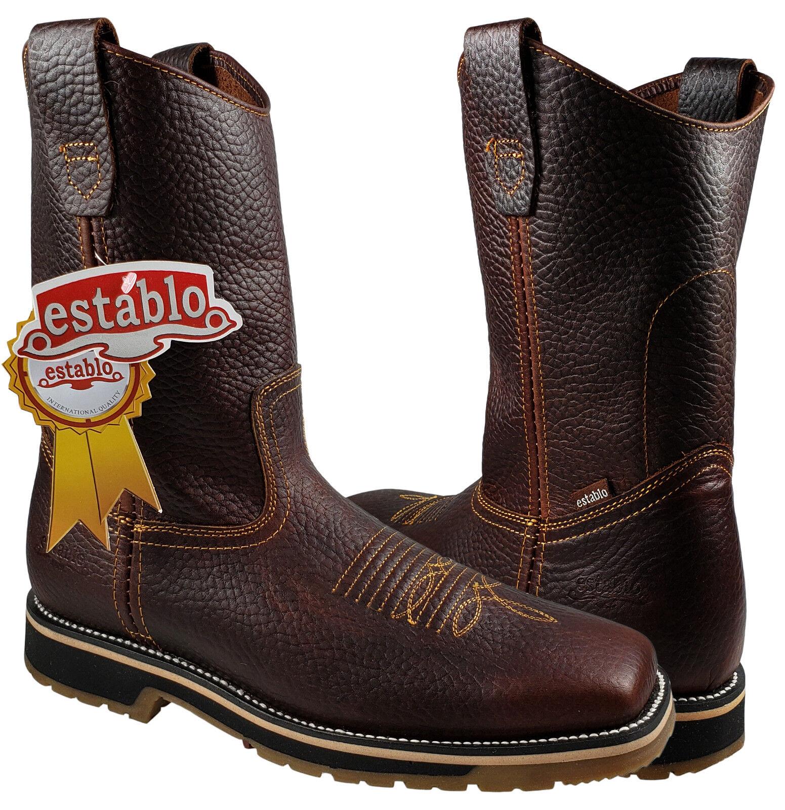 Men's Work Rodeo Boots Establo Genuine Leather color Brown Bull Fight