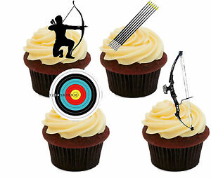 Image Is Loading Archery Edible Cupcake Toppers Standup Fairy Cake Decorations