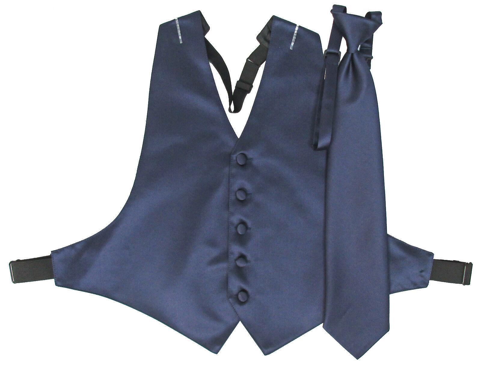 Men's Navy Blue Satin Open-Back Tuxedo Vest and Matching Long Windsor Tie 2XL