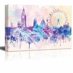 12x18 Canvas Hues of Purples and Pinks Splattered Paint on the City of London