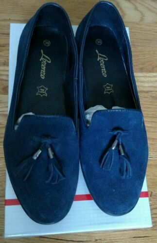 Nib Italy 39 8 Sz With Blue Suede Shoes European Tassels Loafers Lorenzo P4Tdqwq