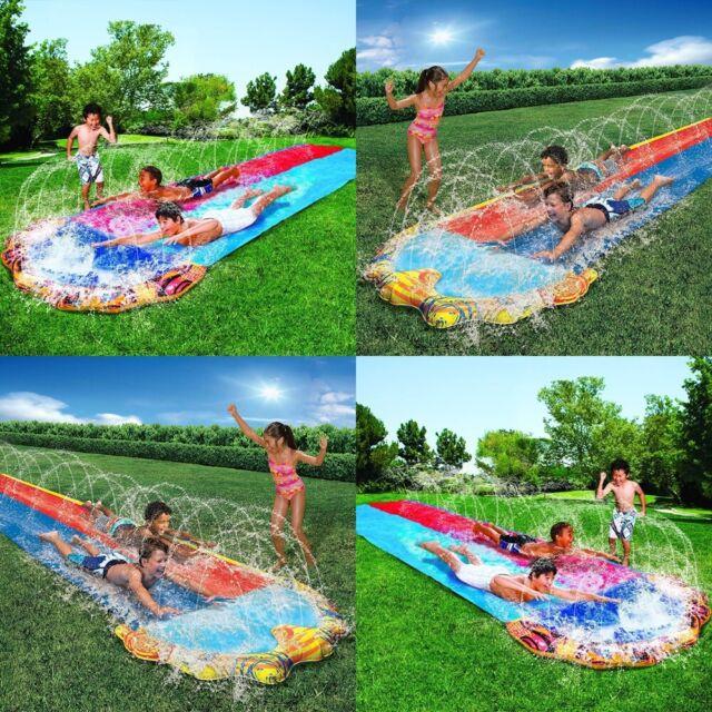 Kids Water Slide Outdoor Summer Garden Double Slip Splash ...