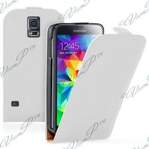 Etui Coque PU Vrai Cuir BLANC Samsung Galaxy S5 V I9600 SM-G900 / S5 Duos/ Plus