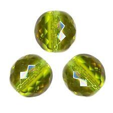 5 Perles Facettes cristal de boheme 12mm - OLIVINE VERT OLIVE