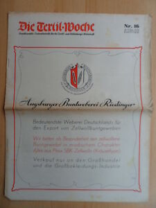 DIE-TEXTIL-WOCHE-16-18-April-1942-Mode-Werbung-Augbsurg-Buntweberei-Riedinger