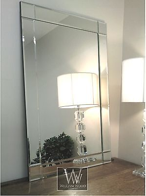 """Lewis Silver Glass Framed Rectangle Art Deco Wall Mirror 48"""" x 32"""" X Large"""