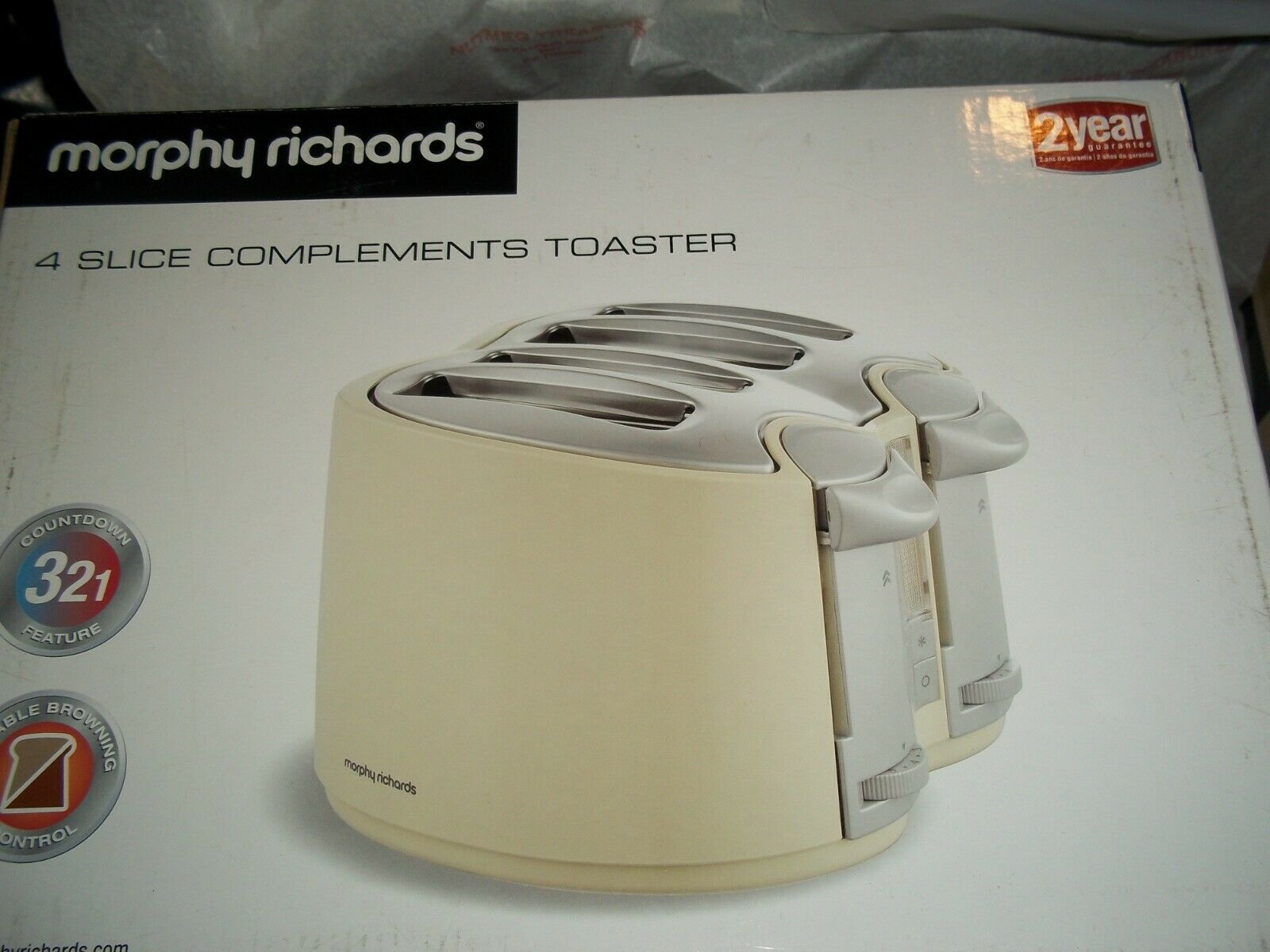 Morphy Richards COMPLEMENTS 4 Slice Toaster  CREAM 44012