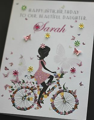 A5 Handmade Personalised CUTE BIKE Birthday Card sister, friend, mum, daughter