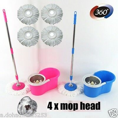 Easy mop 360 Degree Spin Magic with steel bucket,,medium size ,with 4 REFILLS
