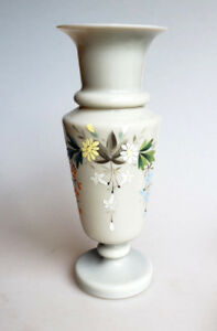 Bristol glass vase dove gray with enamel painted flowers 10 inches