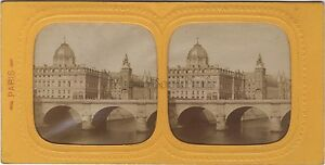 Palais Da Justice De Paris Stereo Diorama Tessuto Vintage Ca 1870