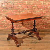 Antique Library Table, Victorian Mahogany Hall, Side, Lamp, English c.1860