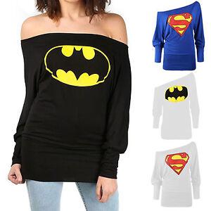 Womens-Ladies-Batman-Superman-Bardot-Full-Sleeve-Off-Shoulder-Batwing-Top-8-22