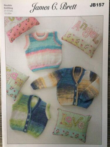"""12-20/"""" James Brett Knitting Pattern: Baby Cardigans /& Slipover JB157 DK"""
