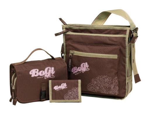 BoGi Girl 3tlg Beautycase Umhänge Tasche Kosmetiktasche  Portemonaie braun rosa