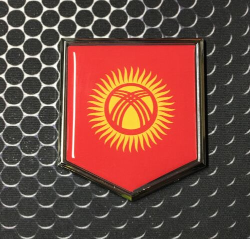 "Kyrgyzstan Flag Domed CHROME Emblem Киргизия Proud Flag Car 3D Sticker 2x 2.25/"""