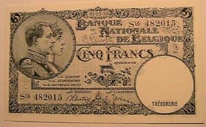 1938-Belgium-5-Francs-CH-CU-Original-Belgian-Belgique-Paper-Money-Currency-P108