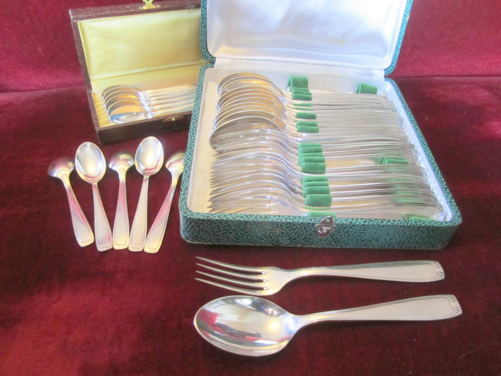 MENAGERE 2 ecrins couverts Métal Argenté fourchettes cuilleres + petites VINTAGE