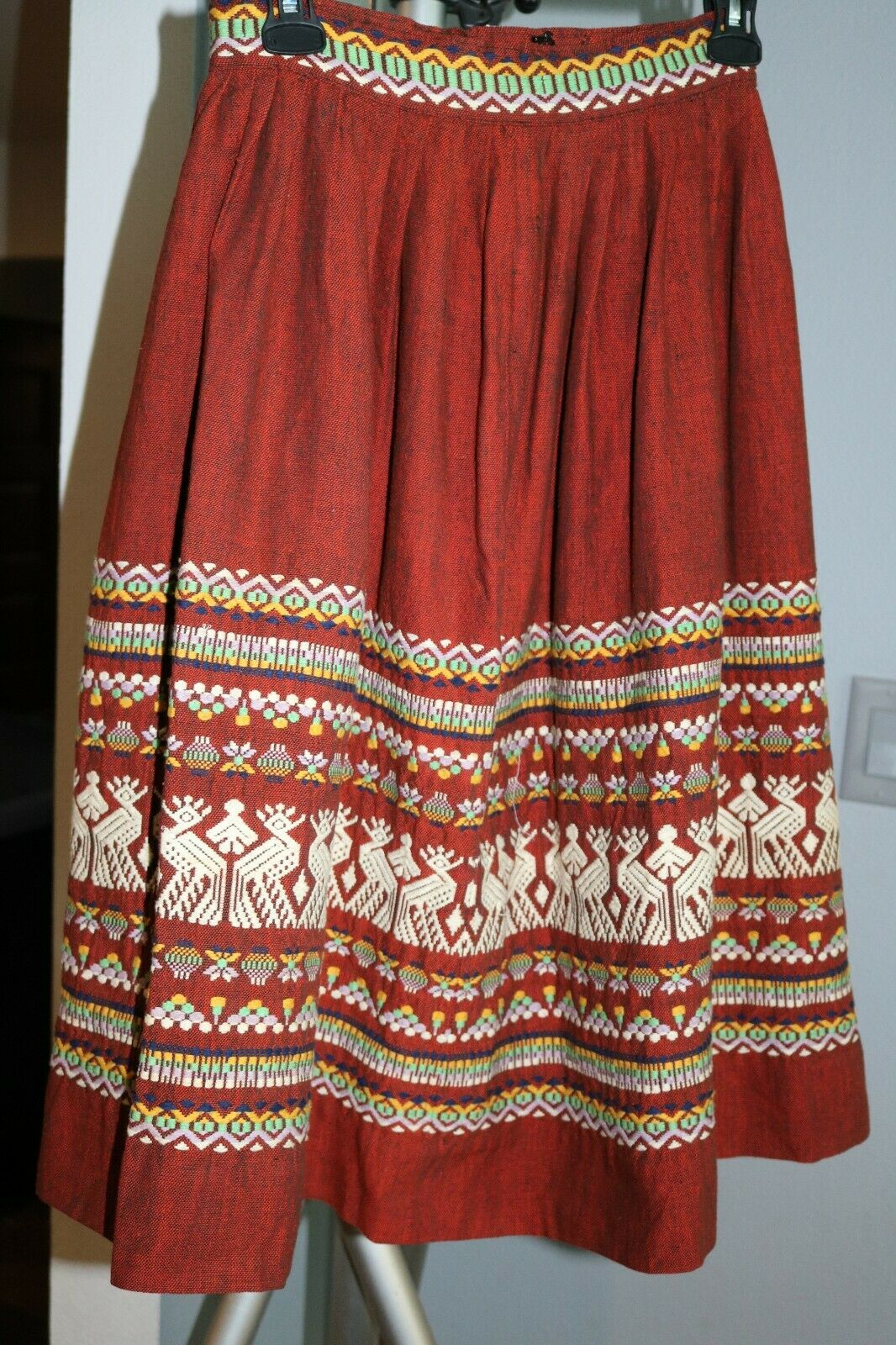 butterfly print embroidery folk midi skirt made in Guatemala 1950s red cotton circle skirt
