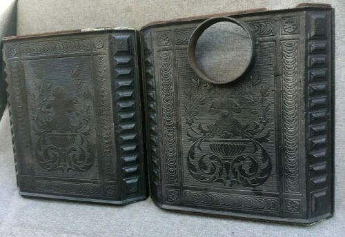 Details about  /Heavy pair of antique french stove panels sides 19th century cast iron angels