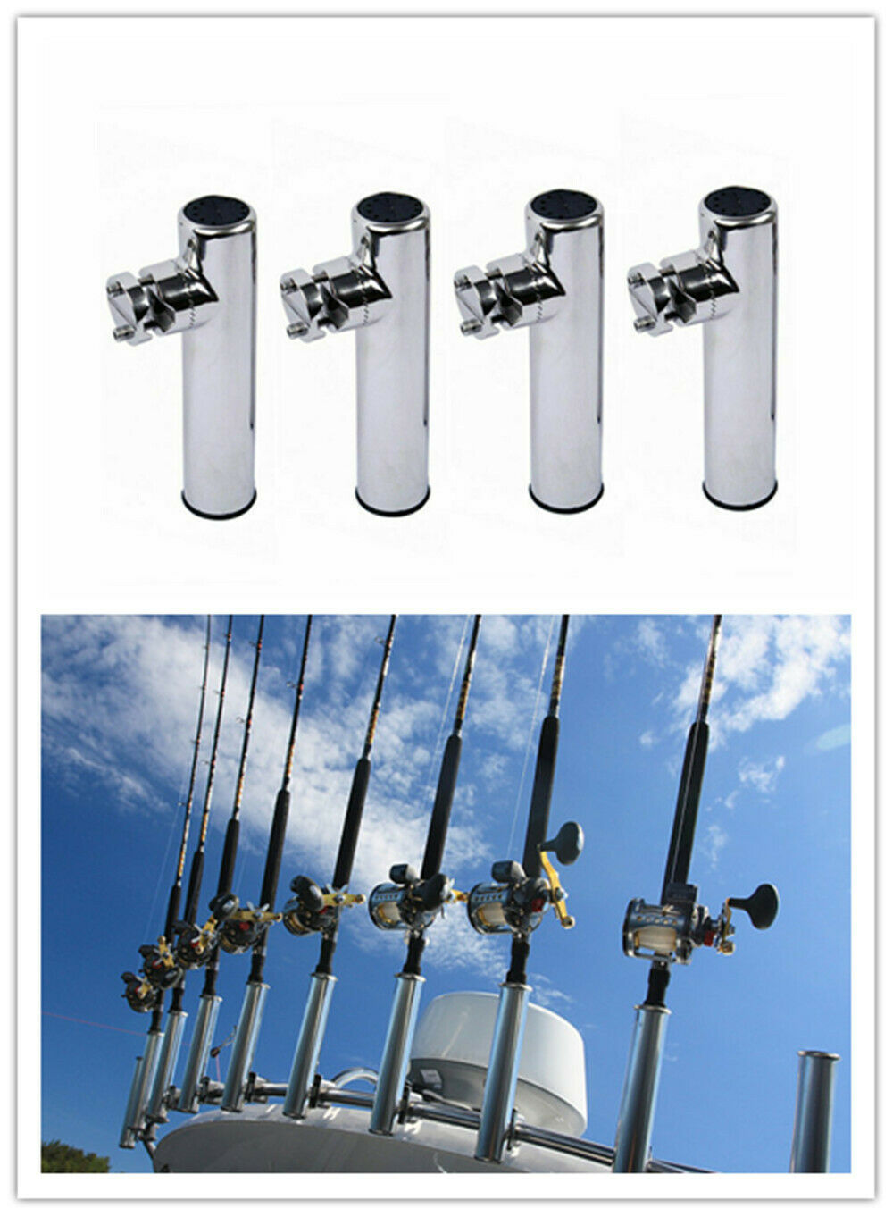 4PCS Boat Fishing Rod Holder Clampon 781 Rail Rod Pole Rest Stainless Steel