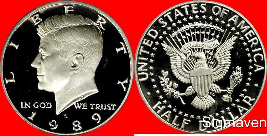 1989 S US Mint Deep Cameo Proof Kennedy Half DCAM