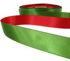 "5 Yds Christmas Green Red Reversible Double Faced Satin Ribbon 7/8""W"