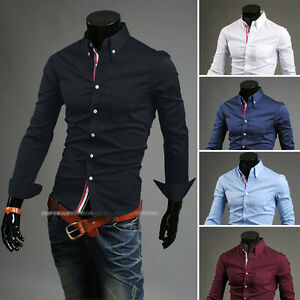 New-Stylish-Mens-Slim-Fit-Casual-Shirt-Shirts-Top-Long-Sleeve-S-M-L-XL-XXL-PS02