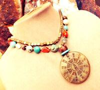 Brown Jade Pendant Necklace Turquoise Carnelian Coral Jasper Rose Quartz Gold