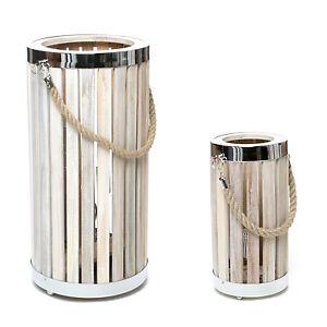 design tischlampe bodenlampe laterne holz metall tau lampe tischleuchte landhaus ebay. Black Bedroom Furniture Sets. Home Design Ideas